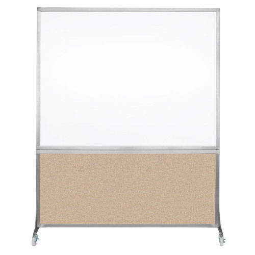 DivideWrite Portable Whiteboard Partition 5' x 6' Beige Fabric
