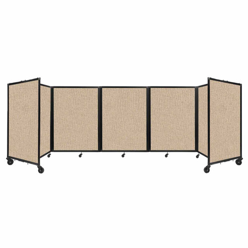 Room Divider 360 Folding Portable Partition 14' x 4' Beige Fabric