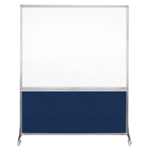 DivideWrite Portable Whiteboard Partition 5' x 6' Navy Blue Fabric
