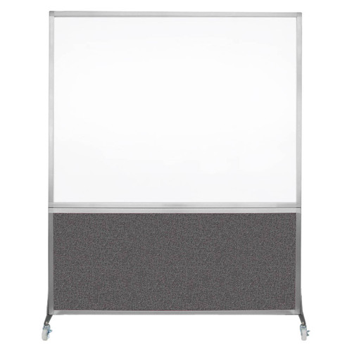 DivideWrite Portable Whiteboard Partition 5' x 6' Charcoal Gray Fabric