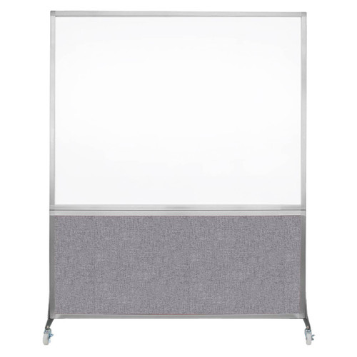 DivideWrite Portable Whiteboard Partition 5' x 6' Cloud Gray Fabric
