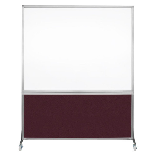 DivideWrite Portable Whiteboard Partition 5' x 6' Cranberry Fabric