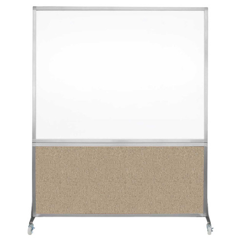 DivideWrite Portable Whiteboard Partition 5' x 6' Rye Fabric