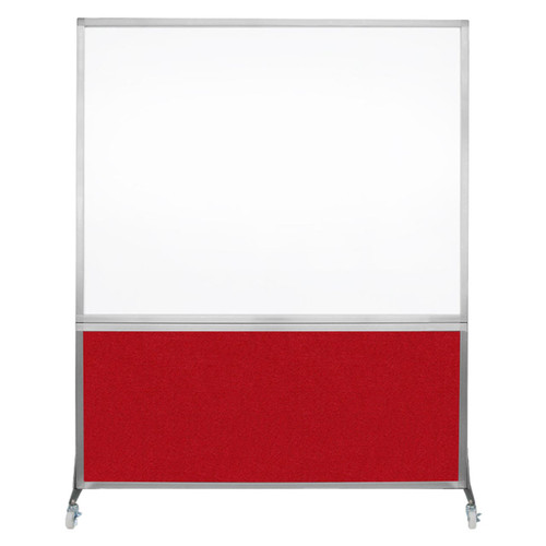 DivideWrite Portable Whiteboard Partition 5' x 6' Red Fabric