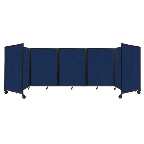 Room Divider 360 Folding Portable Partition 14' x 4' Navy Blue Fabric