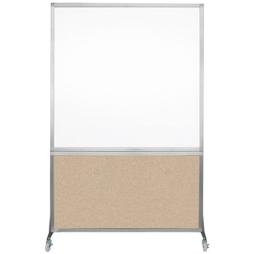 DivideWrite Portable Whiteboard Partition 4' x 6' Beige Fabric