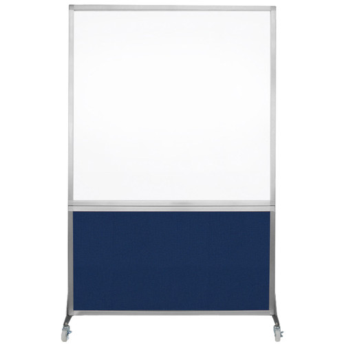 DivideWrite Portable Whiteboard Partition 4' x 6' Navy Blue Fabric