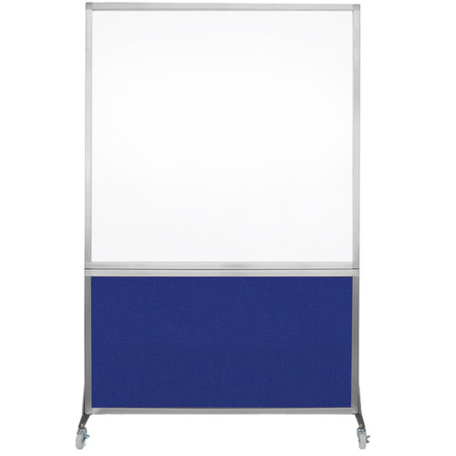 DivideWrite Portable Whiteboard Partition 4' x 6' Royal Blue Fabric