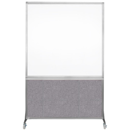 DivideWrite Portable Whiteboard Partition 4' x 6' Cloud Gray Fabric