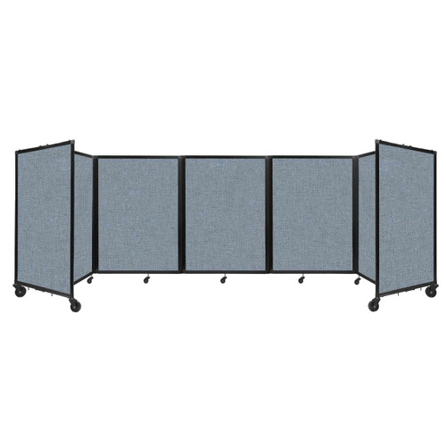 Room Divider 360 Folding Portable Partition 14' x 4' Powder Blue Fabric