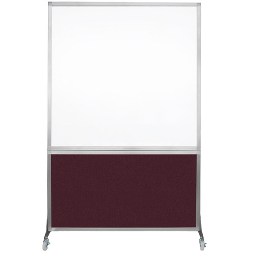 DivideWrite Portable Whiteboard Partition 4' x 6' Cranberry Fabric