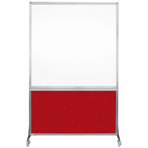 DivideWrite Portable Whiteboard Partition 4' x 6' Red Fabric