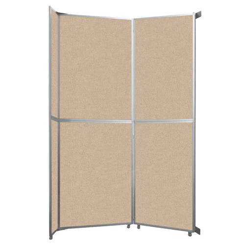 "Operable Wall Folding Room Divider 7'11"" x 12'3"" Beige Fabric"