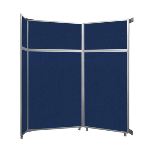 "Operable Wall Folding Room Divider 7'11"" x 8'5-1/4"" Navy Blue Fabric"