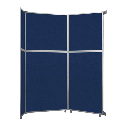 """Operable Wall Folding Room Divider 7'11"""" x 10'3/4"""" Navy Blue Fabric"""