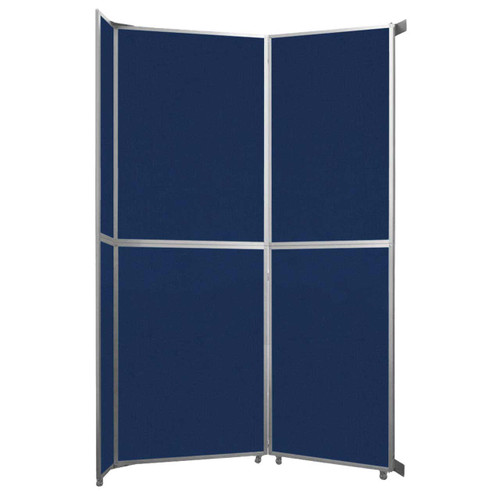 """Operable Wall Folding Room Divider 7'11"""" x 12'3"""" Navy Blue Fabric"""