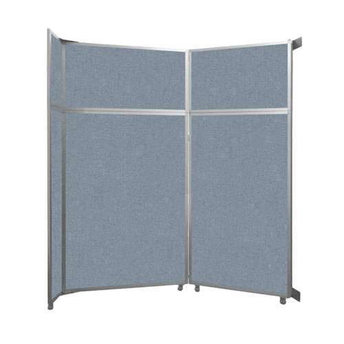 "Operable Wall Folding Room Divider 7'11"" x 8'5-1/4"" Powder Blue Fabric"