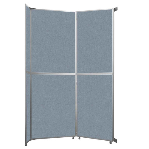 "Operable Wall Folding Room Divider 7'11"" x 12'3"" Powder Blue Fabric"
