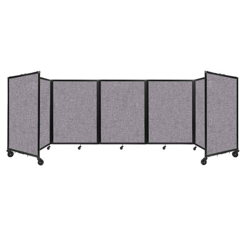 Room Divider 360 Folding Portable Partition 14' x 4' Cloud Gray Fabric