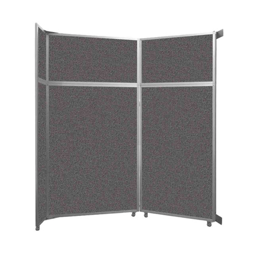 "Operable Wall Folding Room Divider 7'11"" x 8'5-1/4"" Charcoal Gray Fabric"
