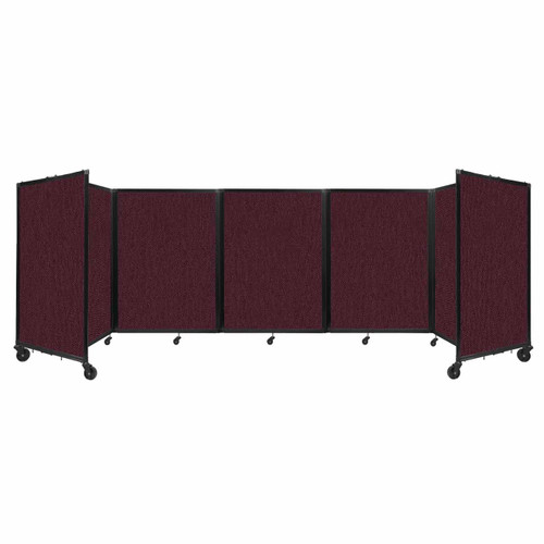 Room Divider 360 Folding Portable Partition 14' x 4' Cranberry Fabric