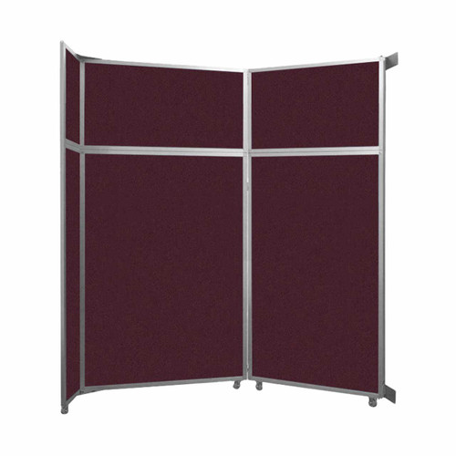 """Operable Wall Folding Room Divider 7'11"""" x 8'5-1/4"""" Cranberry Fabric"""