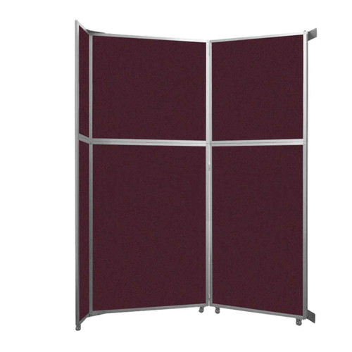 """Operable Wall Folding Room Divider 7'11"""" x 10'3/4"""" Cranberry Fabric"""