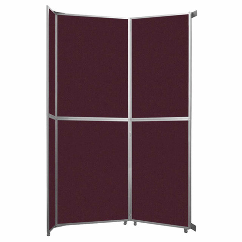 "Operable Wall Folding Room Divider 7'11"" x 12'3"" Cranberry Fabric"