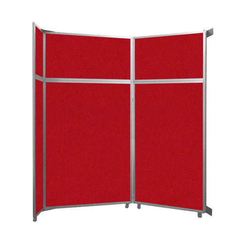 """Operable Wall Folding Room Divider 7'11"""" x 8'5-1/4"""" Red Fabric"""