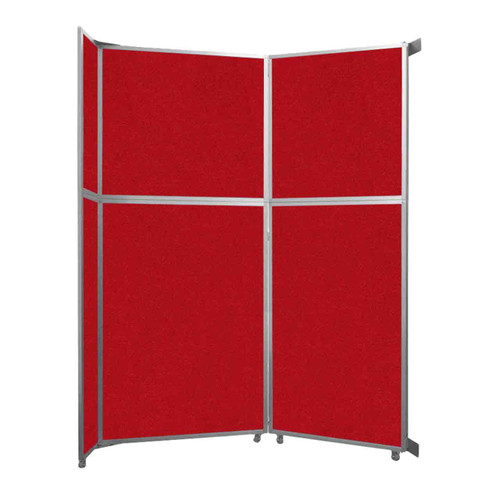 """Operable Wall Folding Room Divider 7'11"""" x 10'3/4"""" Red Fabric"""