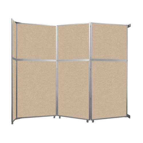 """Operable Wall Folding Room Divider 11'9"""" x 10'3/4"""" Beige Fabric"""