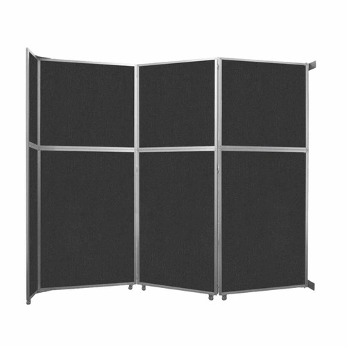 """Operable Wall Folding Room Divider 11'9"""" x 10'3/4"""" Black Fabric"""