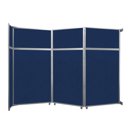 "Operable Wall Folding Room Divider 11'9"" x 8'5-1/4"" Navy Blue Fabric"
