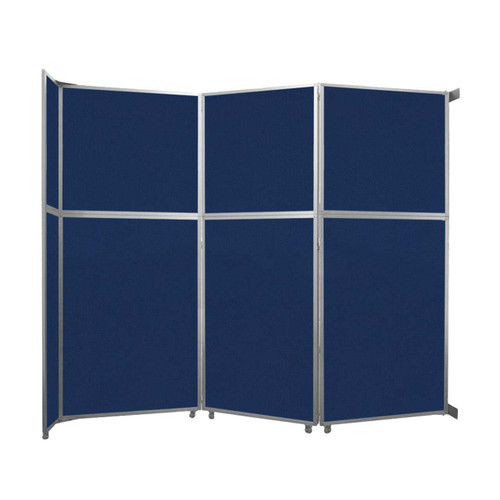 """Operable Wall Folding Room Divider 11'9"""" x 10'3/4"""" Navy Blue Fabric"""