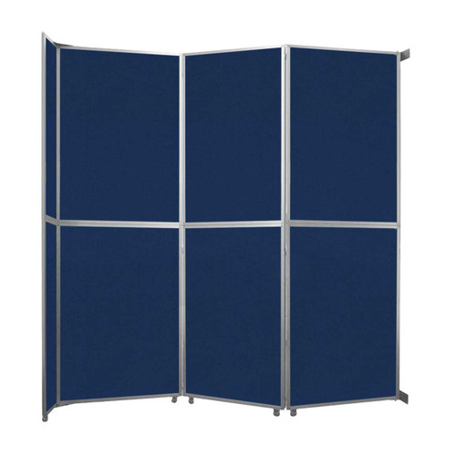 """Operable Wall Folding Room Divider 11'9"""" x 12'3"""" Navy Blue Fabric"""
