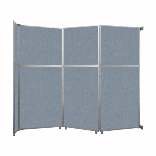 """Operable Wall Folding Room Divider 11'9"""" x 10'3/4"""" Powder Blue Fabric"""