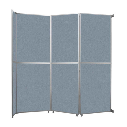 """Operable Wall Folding Room Divider 11'9"""" x 12'3"""" Powder Blue Fabric"""