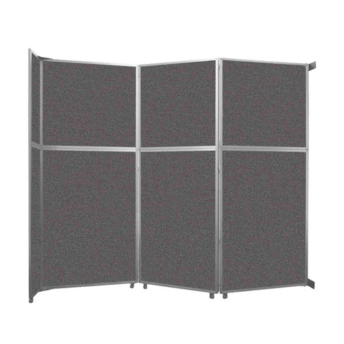 "Operable Wall Folding Room Divider 11'9"" x 10'3/4"" Charcoal Gray Fabric"