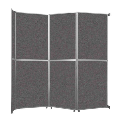 """Operable Wall Folding Room Divider 11'9"""" x 12'3"""" Charcoal Gray Fabric"""