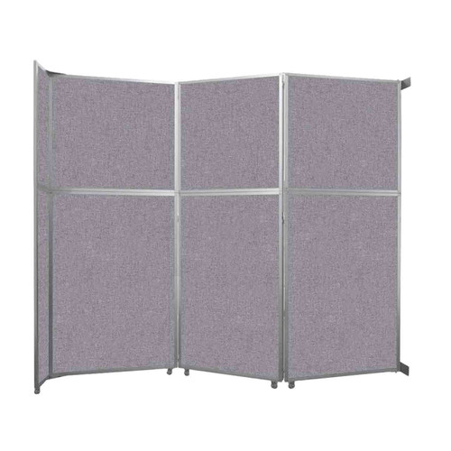 "Operable Wall Folding Room Divider 11'9"" x 10'3/4"" Cloud Gray Fabric"