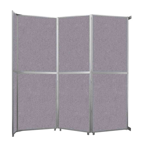 """Operable Wall Folding Room Divider 11'9"""" x 12'3"""" Cloud Gray Fabric"""