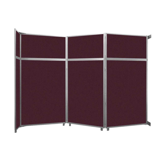 """Operable Wall Folding Room Divider 11'9"""" x 8'5-1/4"""" Cranberry Fabric"""