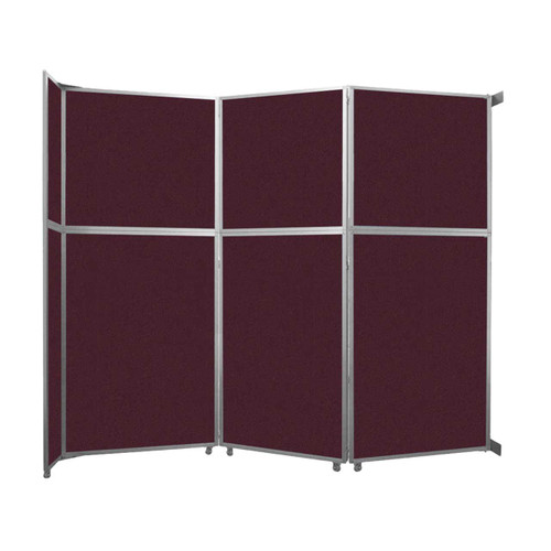 """Operable Wall Folding Room Divider 11'9"""" x 10'3/4"""" Cranberry Fabric"""