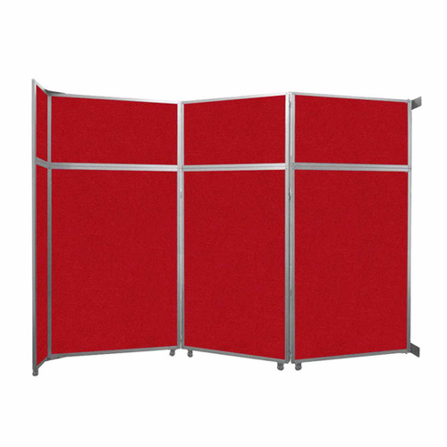 """Operable Wall Folding Room Divider 11'9"""" x 8'5-1/4"""" Red Fabric"""