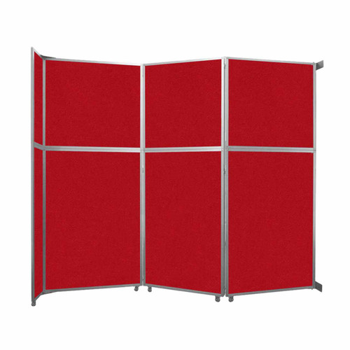"""Operable Wall Folding Room Divider 11'9"""" x 10'3/4"""" Red Fabric"""