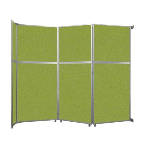 "Operable Wall Folding Room Divider 11'9"" x 10'3/4"" Lime Green Fabric"