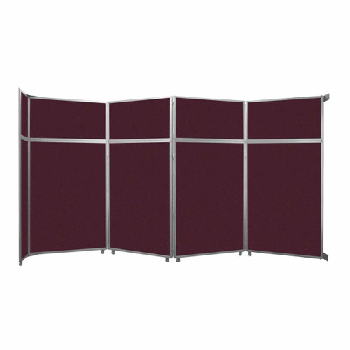 """Operable Wall Folding Room Divider 15'7"""" x 8'5-1/4"""" Cranberry Fabric"""