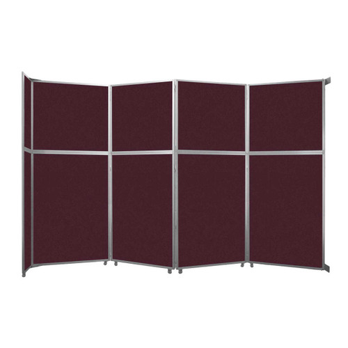"""Operable Wall Folding Room Divider 15'7"""" x 10'3/4"""" Cranberry Fabric"""