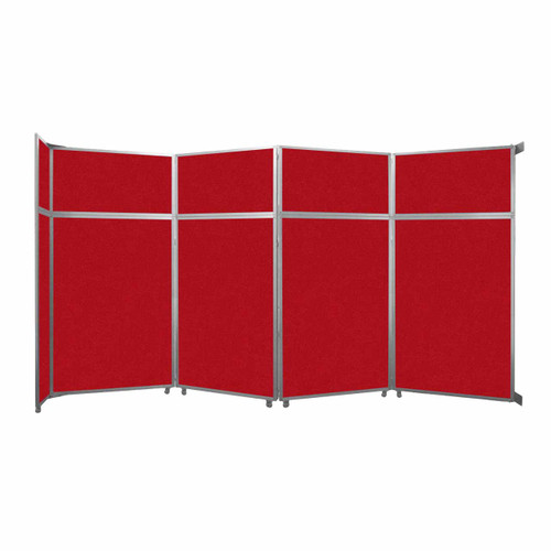 """Operable Wall Folding Room Divider 15'7"""" x 8'5-1/4"""" Red Fabric"""