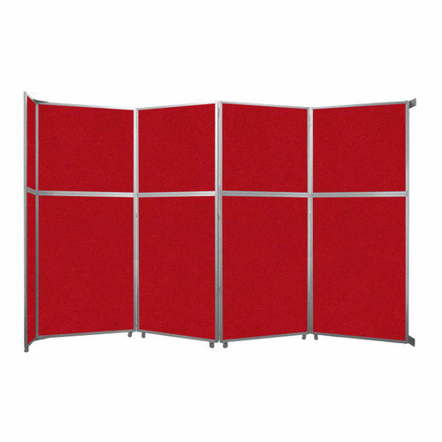 """Operable Wall Folding Room Divider 15'7"""" x 10'3/4"""" Red Fabric"""